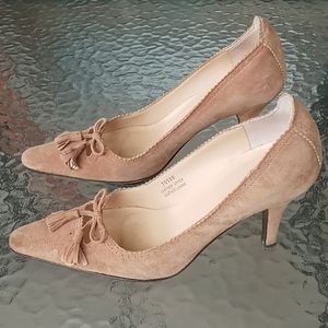 J.Crew Tan Suede Pointed Toe Pumps with Tassels